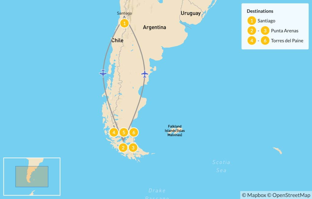 Map of Punta Arenas & Torres del Paine National Park - 7 Days