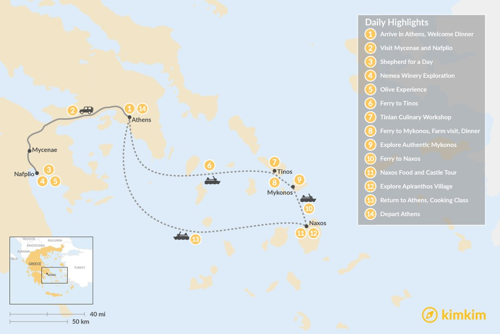 Map of Cyclades & Peloponnese Culinary Heritage - 14 Days