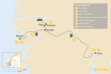 Map thumbnail of Norwegian Nature & Culture: Oslo, Bergen & Western Fjords & Mountains - 14 Days