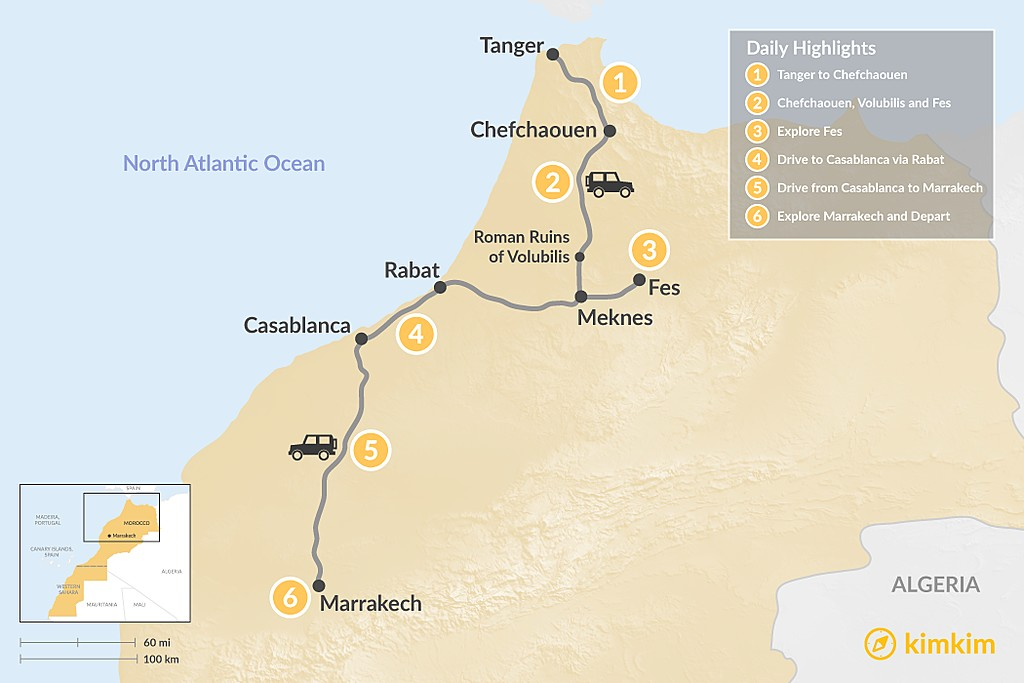 Map of Moroccan Cities: Tangier to Marrakech - 6 Days