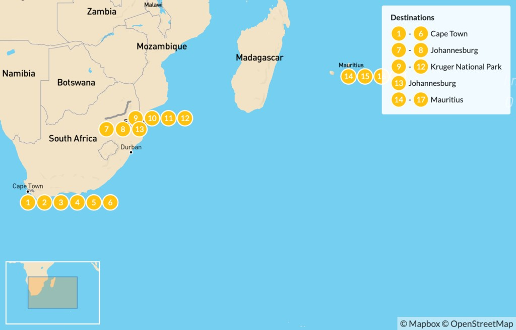 Map of Classic South Africa and Mauritius: Cape Town, Johannesburg, Kruger Safari, & More - 18 Days