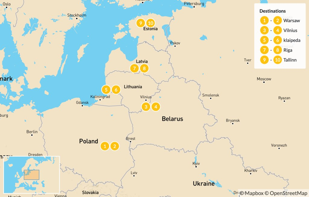 Map of European Amber Road Tour - 14 Days