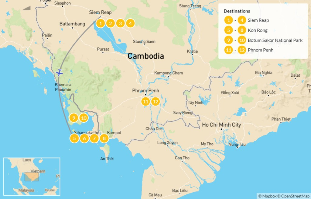 Map of Best of Cambodia: Temples, Beaches, & Nature - 13 Days