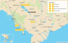 Map thumbnail of Best of Cambodia: Temples, Beaches, & Nature - 13 Days