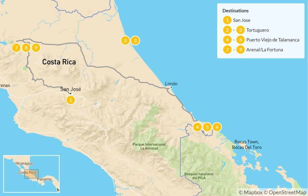 Map of Costa Rica: Caribbean Coast & Arenal Volcano - 10 Days