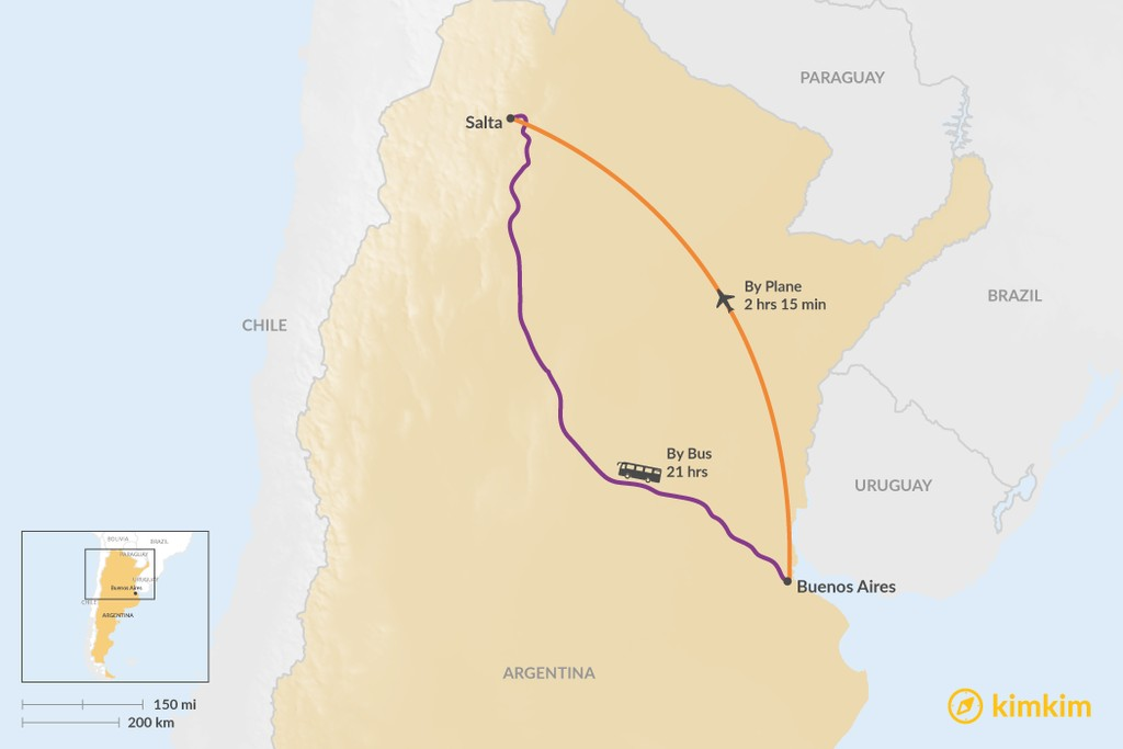 Map of How to Get from Buenos Aires to Salta