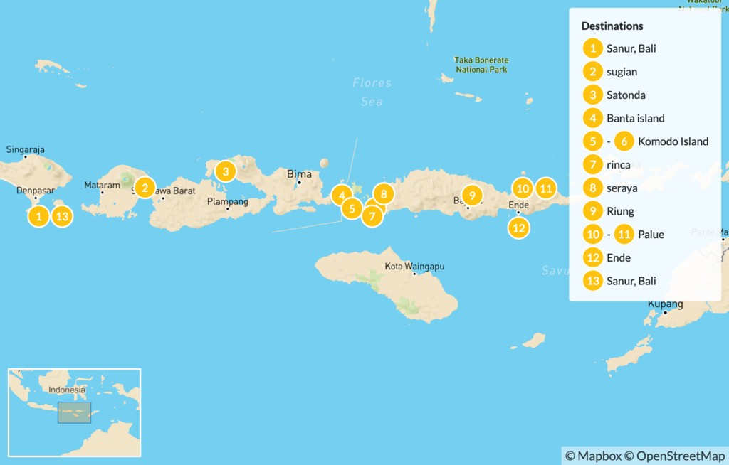 Map of Hike & Cruise Indonesia: Lombok, Komodo, and Flores - 14 Days