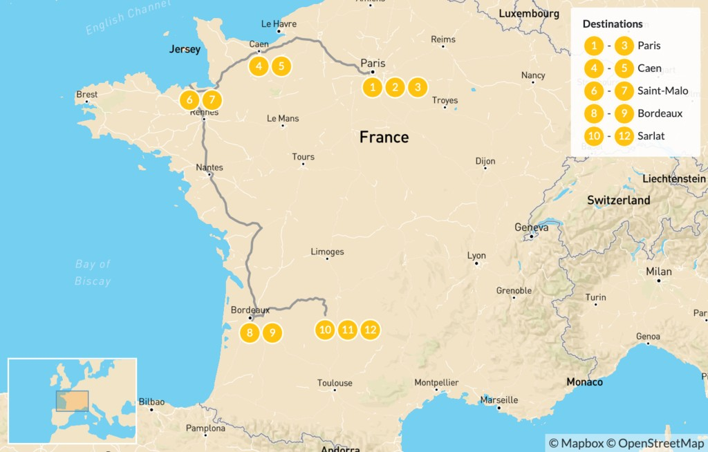 Map of Family Adventure in Western France: Paris, Caen, Saint-Malo, Bordeaux, & More - 13 Days