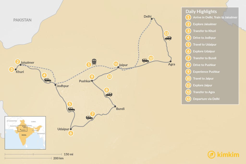 Map of Magic and Realism in Rajasthan - 13 Days