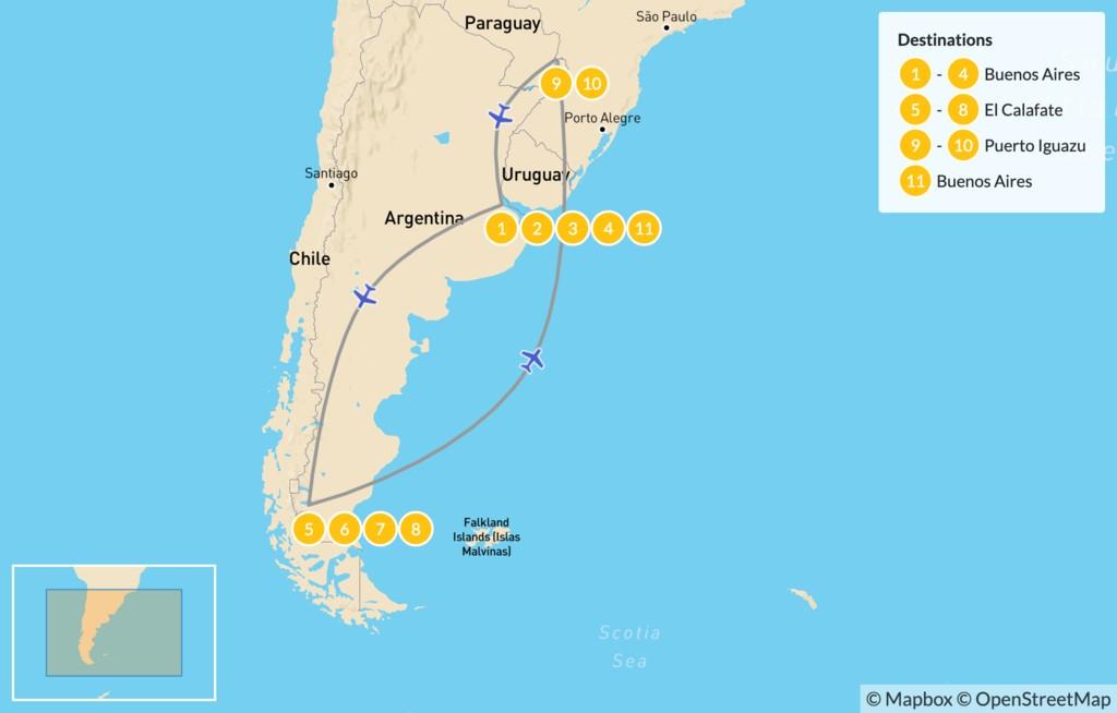 Map of Classic Argentina: Patagonia & Iguazú - 12 Days