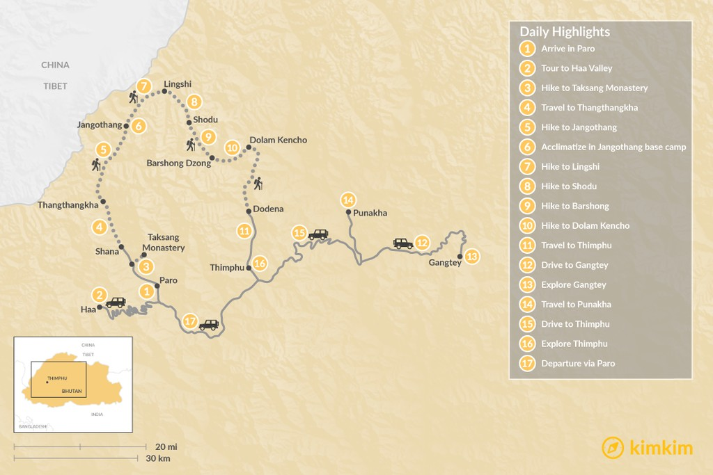 Map of  Jumolhari Round Trek and Cultural Tour - 17 Days