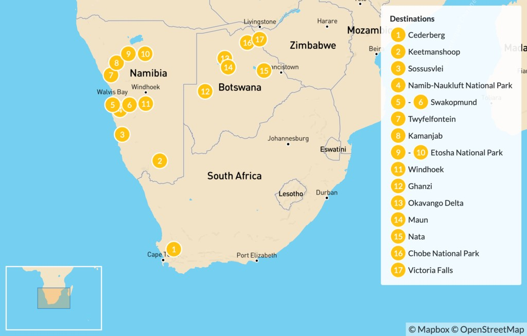 Map of Explore Southern Africa: Cape Town to Victoria Falls - 20 Days