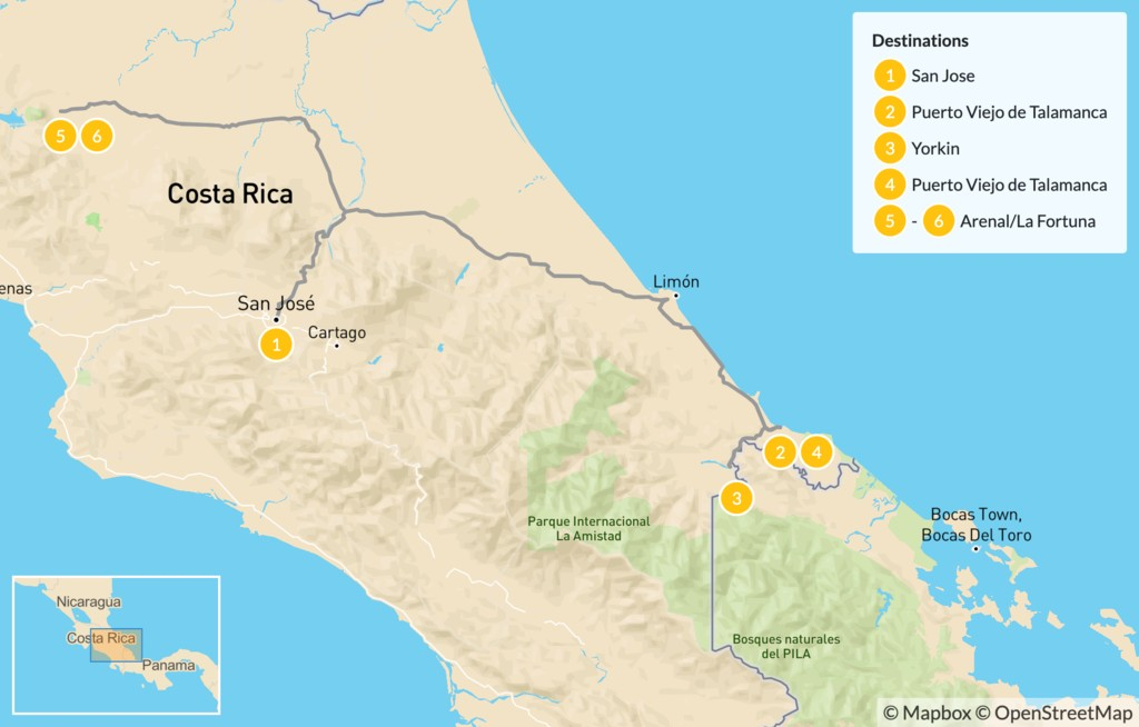 Map of Costa Rica Indigenous Culture & Arenal Tour - 7 Days