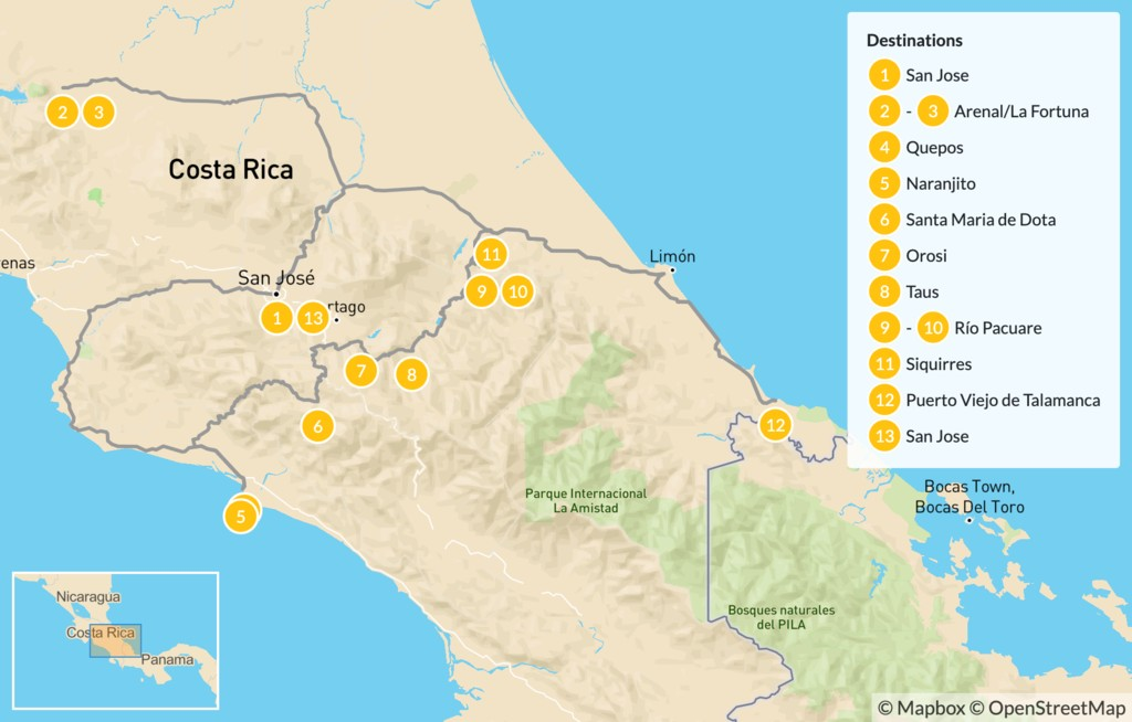 Map of Cycling Manuel Antonio, Arenal & the Caribbean Coast - 14 Days