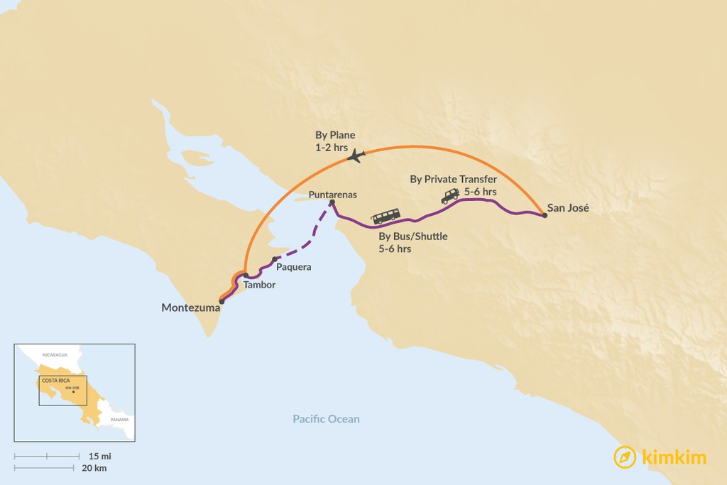 Map of How to Get from San José to Playa Montezuma