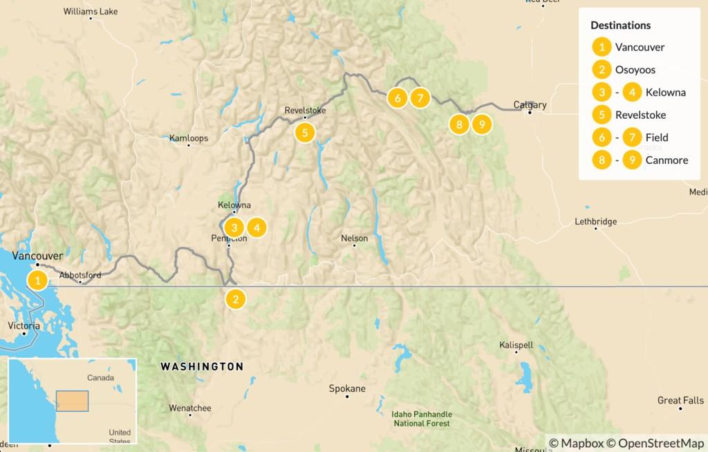 Map of Vancouver to Calgary Road Trip: Okanagan Valley & Canadian Rockies - 10 Days