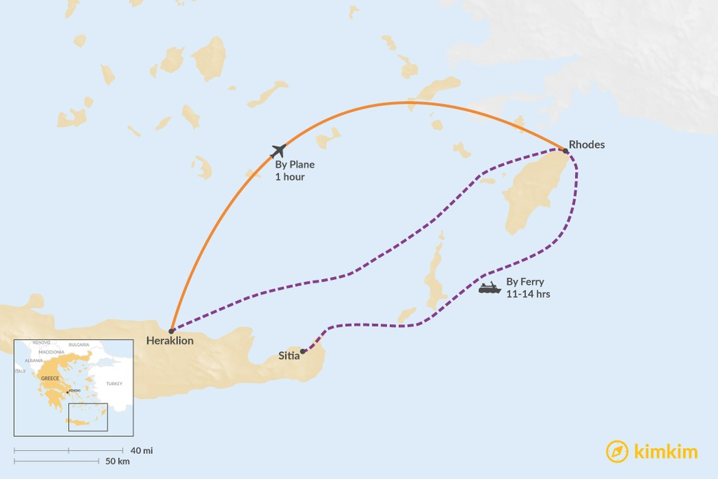 Map of How to Get from Crete to Rhodes