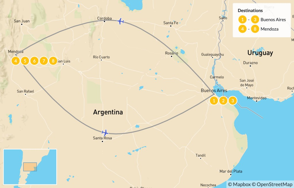 Map of Buenos Aires & Mendoza - 9 Days