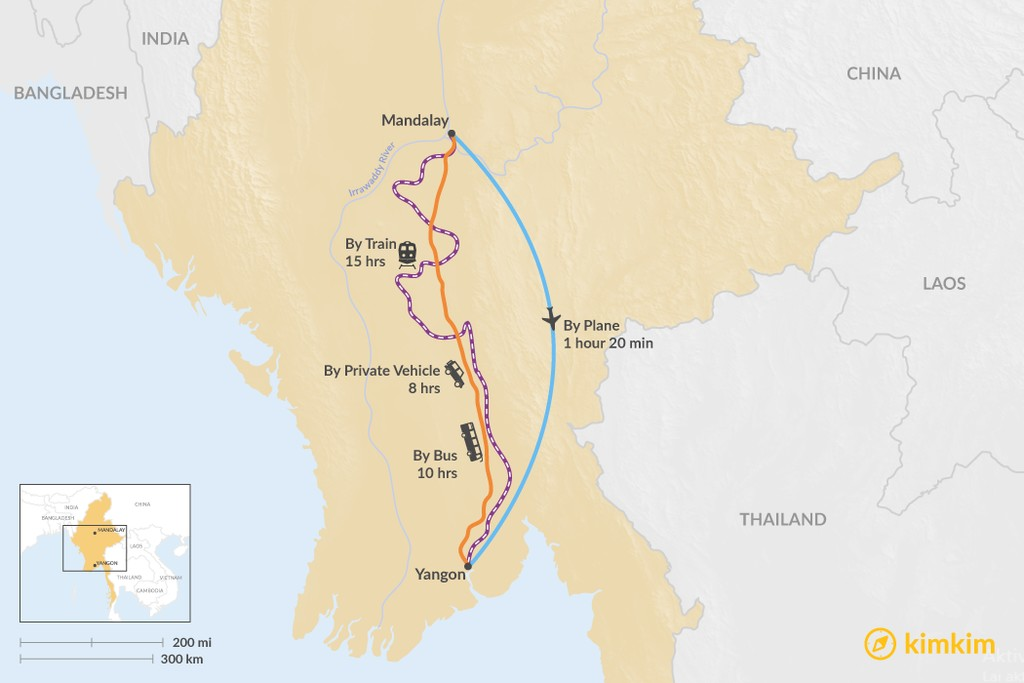 Map of How to Get from Mandalay to Yangon