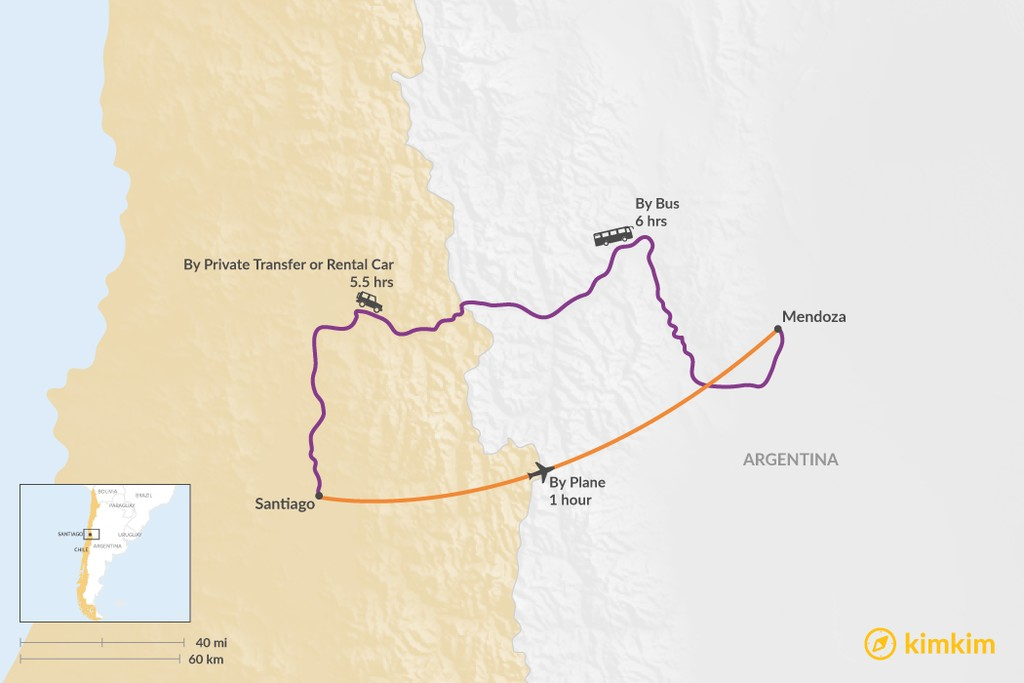 Map of How to Get from Santiago to Mendoza
