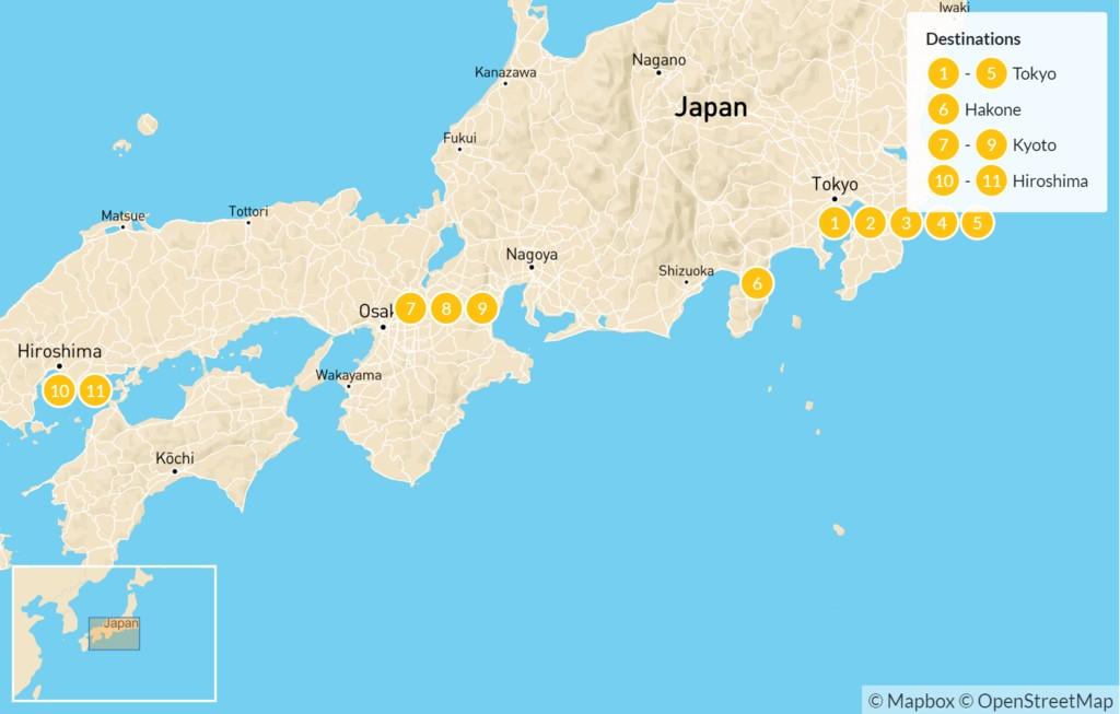 Map of Explore Japan: Tokyo, Kyoto, & Hiroshima - 12 Days