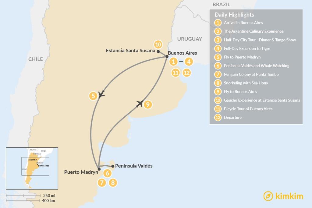 Map of Exploring Argentina's Wildlife & Culture - 10 Days