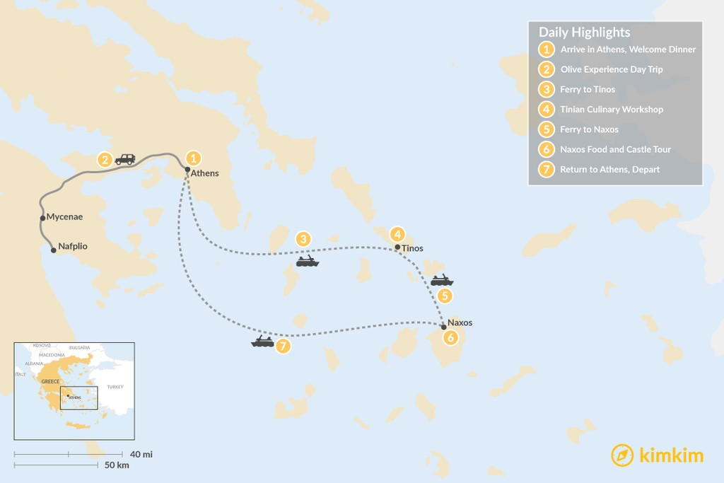 Map of Cyclades & Peloponnese Culinary Heritage - 7 Days