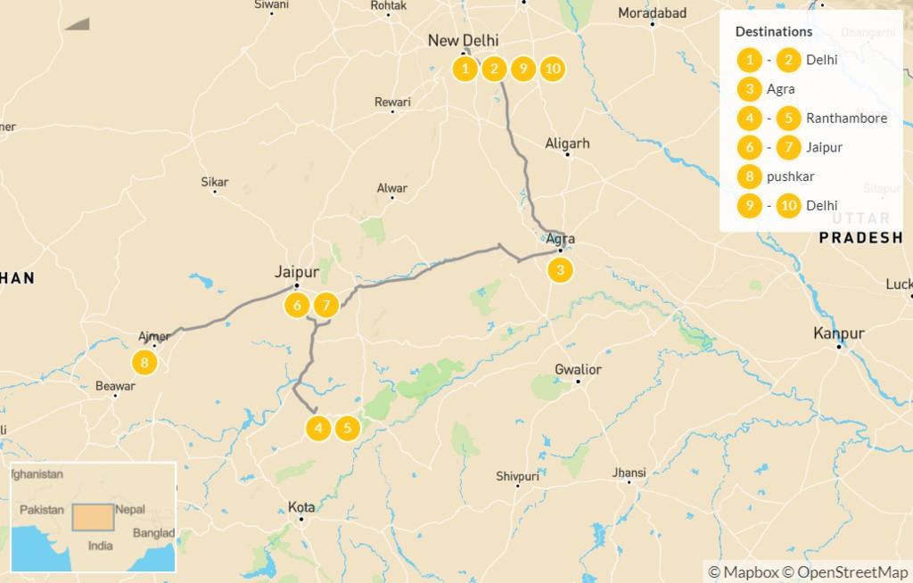 Map of Rajasthan Family Tour: Delhi, Jaipur, Taj Majal - 10 Days