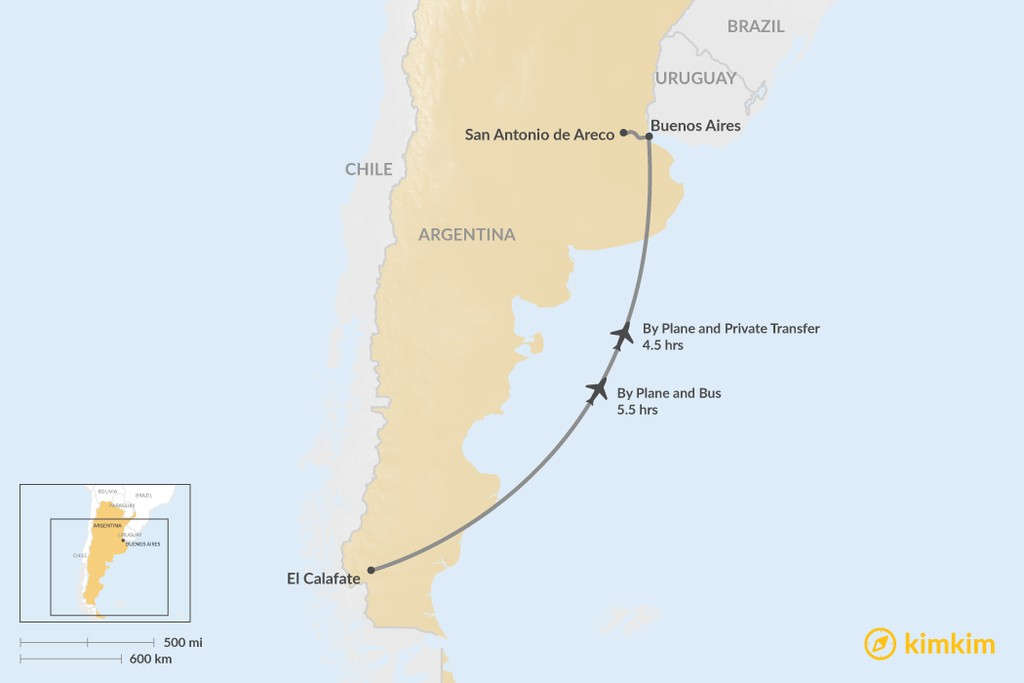 Map of How to Get from El Calafate to San Antonio de Areco