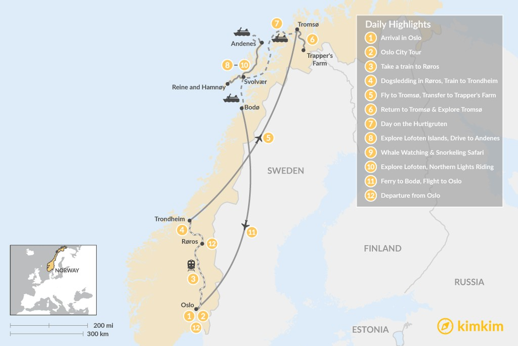 Map of Ultimate Winter Adventure in Norway's Arctic - 12 Days