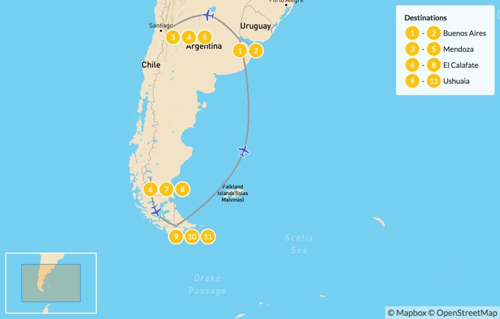 Map of Classic Argentina: Mendoza & Patagonia - 12 Days