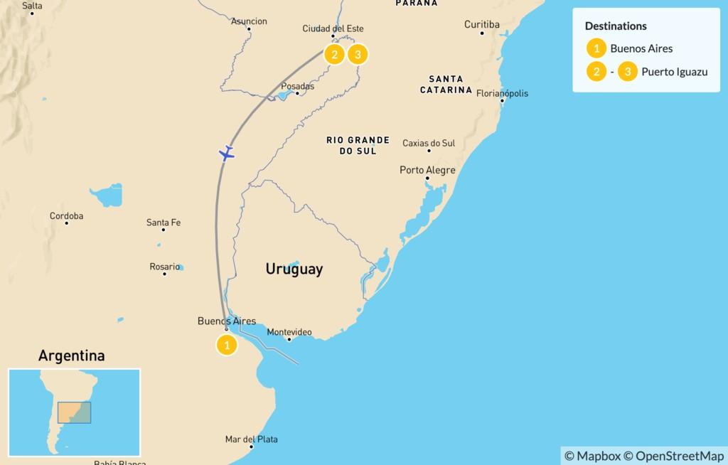 Map of Buenos Aires & Iguazú Falls - 4 Days