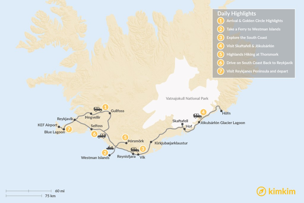 Map of Iceland Highlights: South Coast, Westman Islands, & Thorsmork - 7 Days