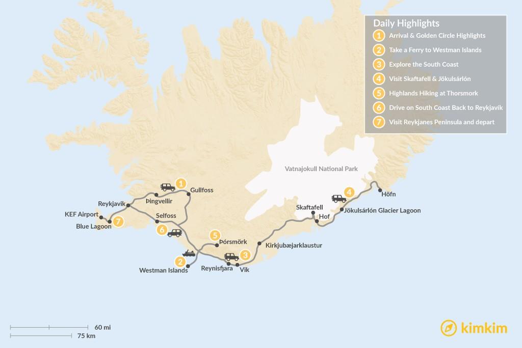 Map of Iceland Highlights: South Coast, Westman Islands, & Thorsmork - 7 Days