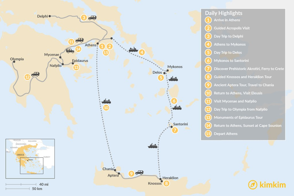 Map of Historic Athens, Mainland Greece, Cyclades, and Crete - 15 Days