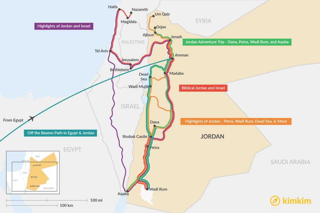 Map of 2 Weeks in Jordan - 5 Unique Itinerary Ideas