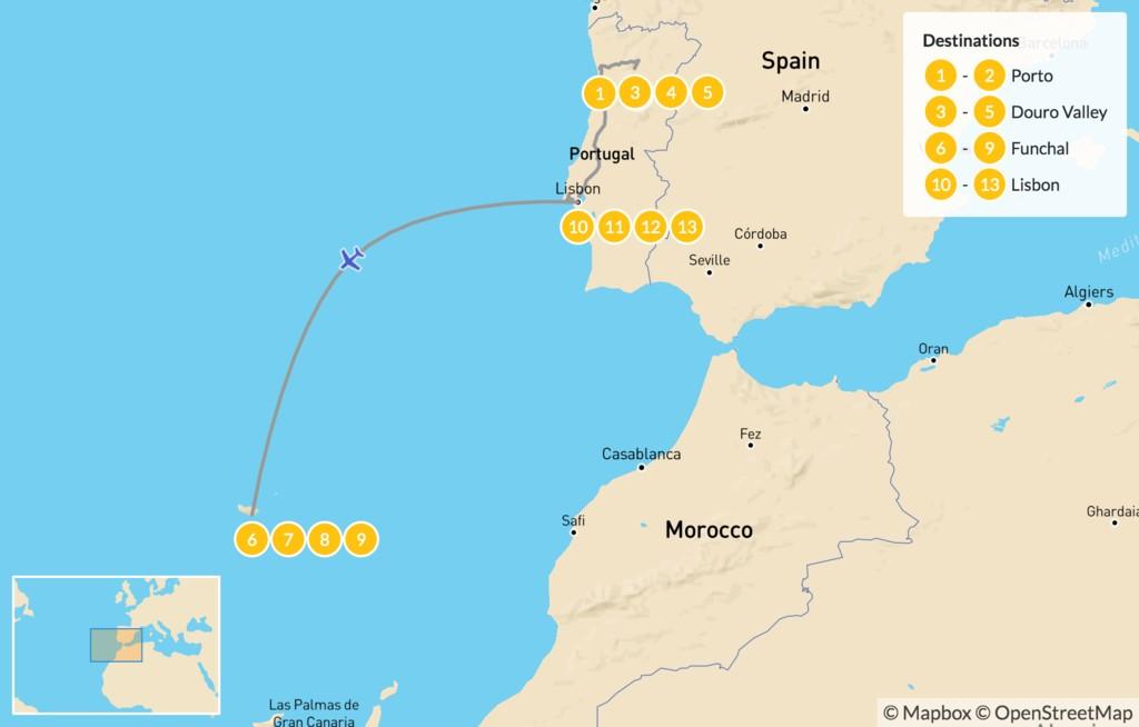 Map of Explore Portugal: Porto, Lisbon, & Madeira Island - 14 Days