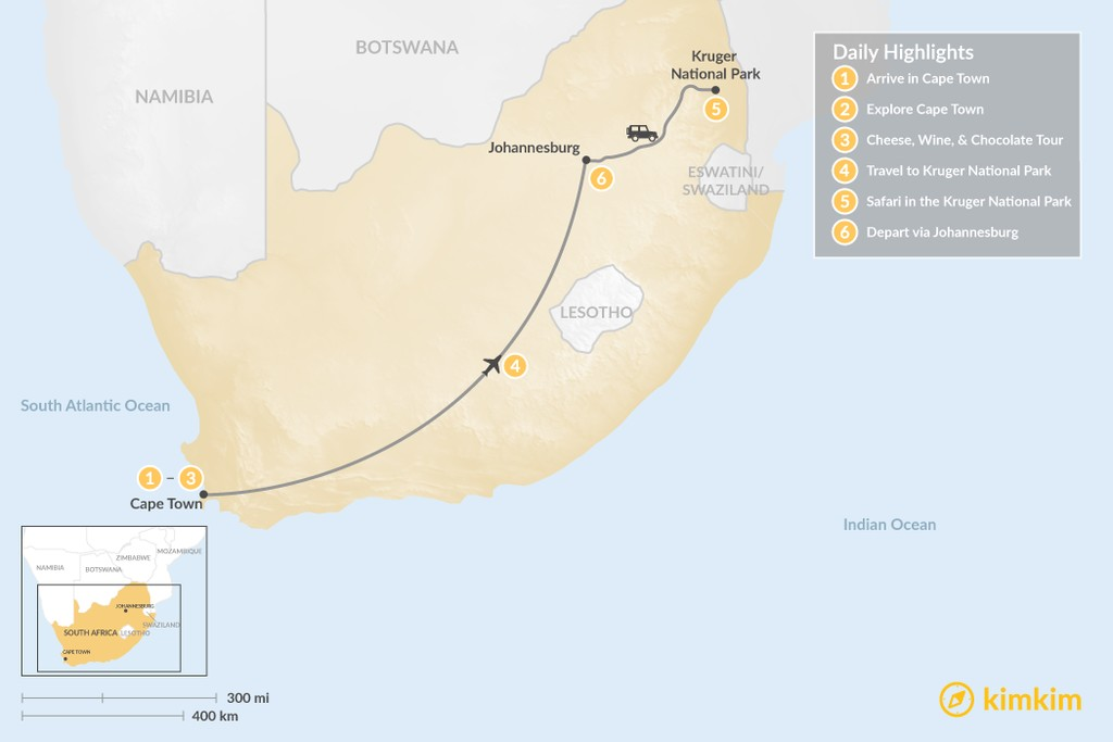 Map of Explore South Africa: Cape Town & Kruger Safari - 6 Days