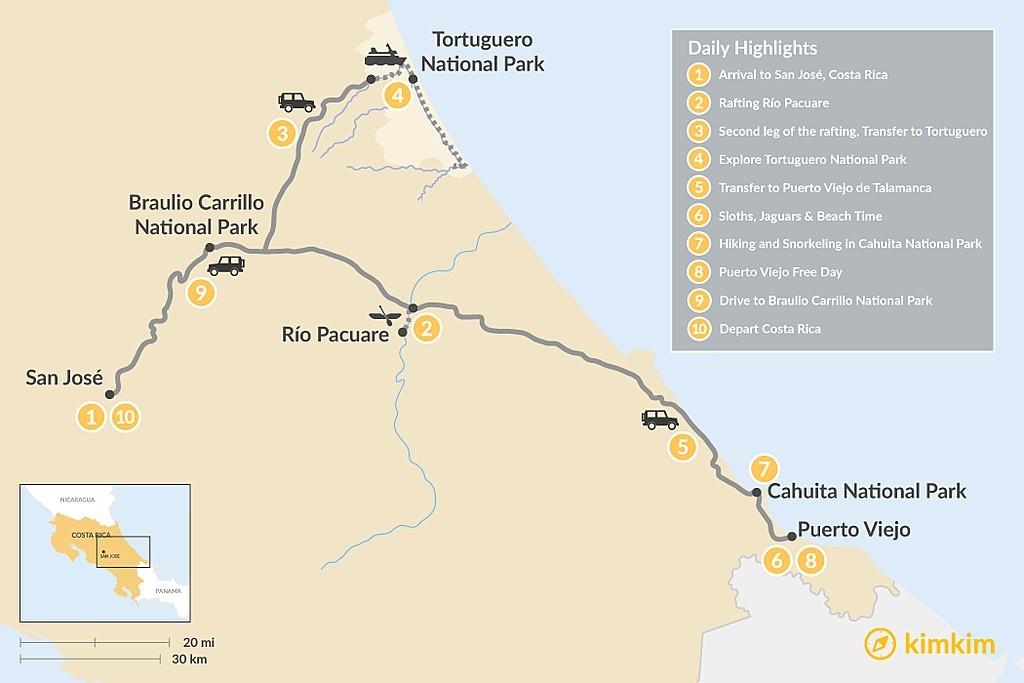 Map of Caribbean Coast Adventure Tour - 10 Days