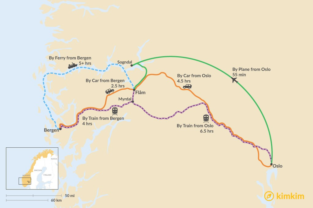 Map of How to Get to Flåm