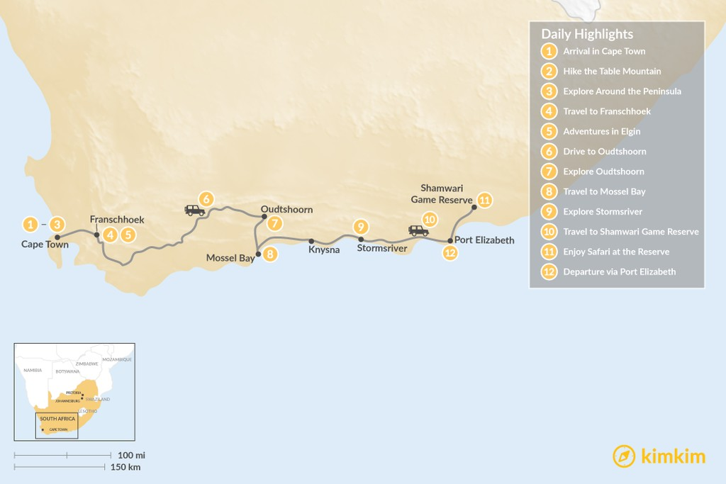 Map of South Africa Family Adventure: Cape Town, Winelands, Garden Route, Safari, & More - 12 Days