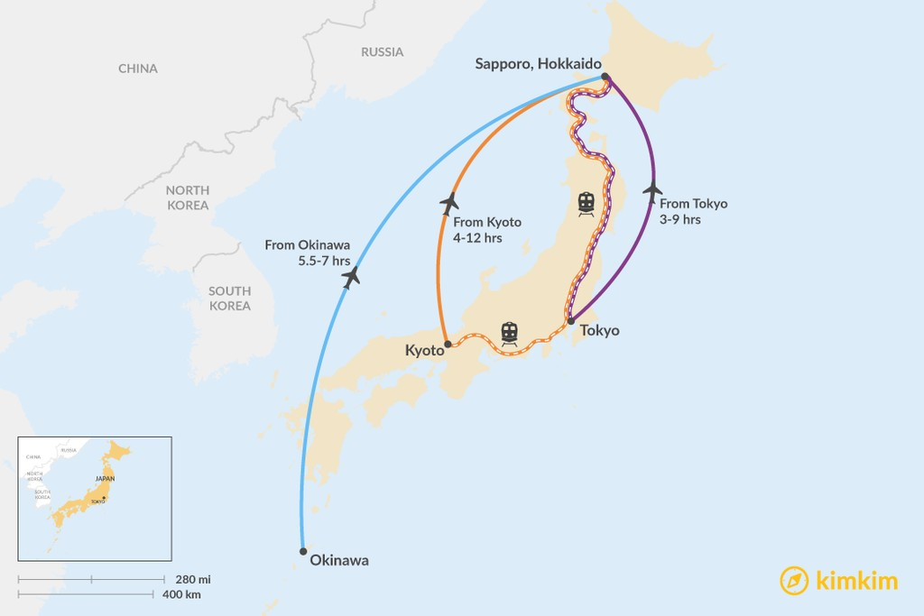 Map of How to Get to Hokkaido