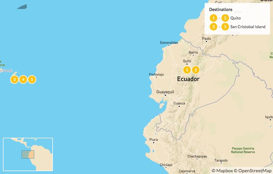 Map of Ecuador Highlights: Quito & the Galapagos - 6 Days