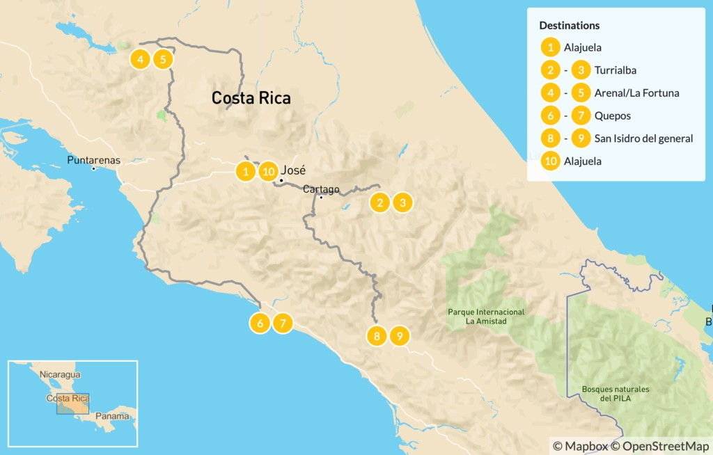 Map of Costa Rica Outdoor Adventure and Luxury Wellness - 11 Days