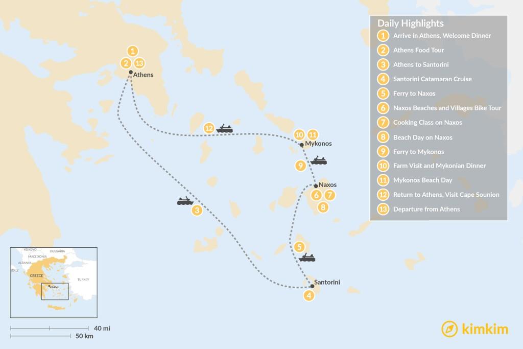 Map of Relaxed Athens, Santorini, Naxos & Mykonos - 13 Days