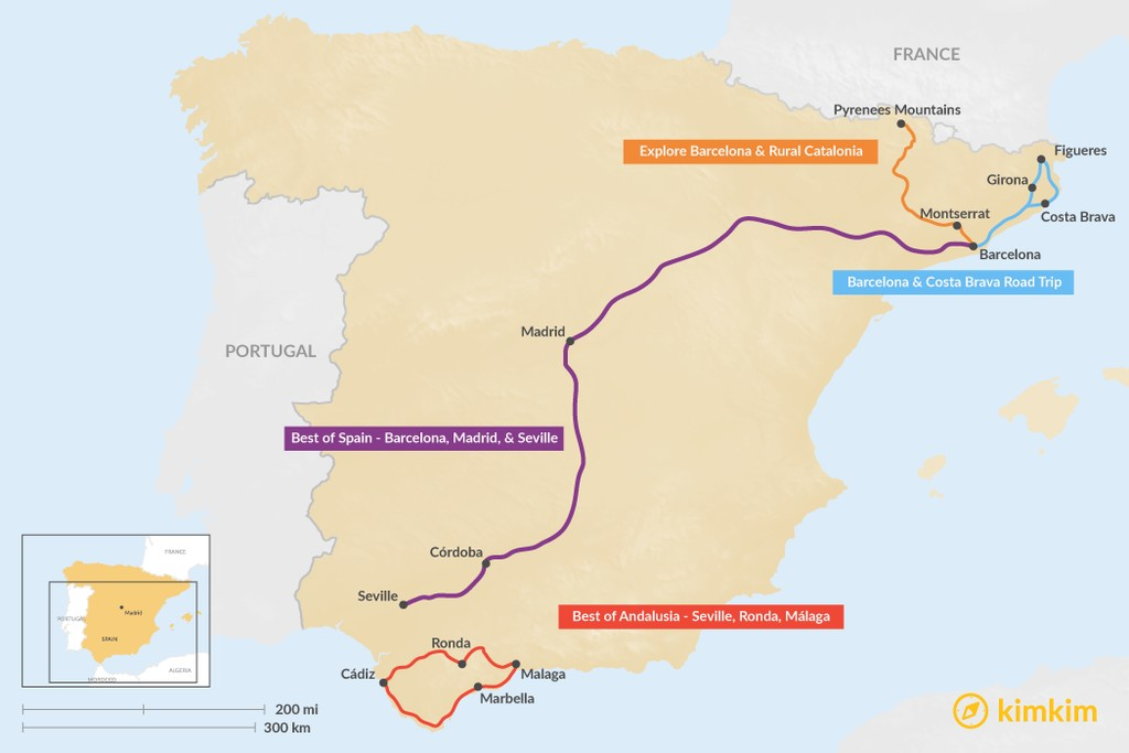 Map of 7 Days in Spain - 5 Unique Itinerary Ideas