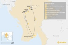Map thumbnail of Discover Myanmar's Ancient Capitals: Yangon, Mandalay, and Bagan - 8 Days