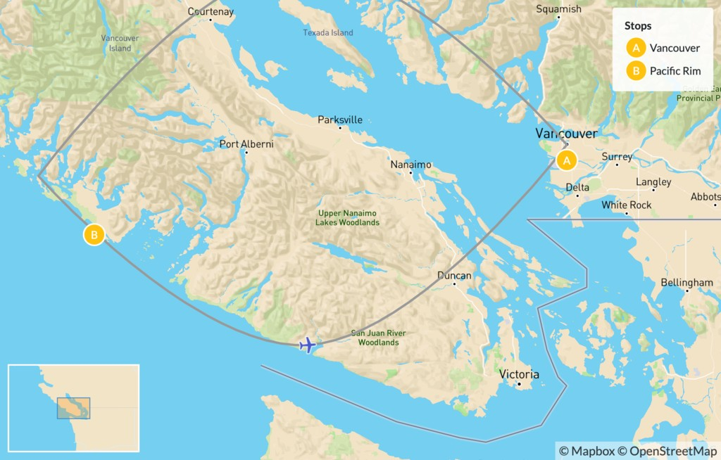 Map of Pacific Rim Adventure: Vancouver to Tofino by Flight - 4 Days