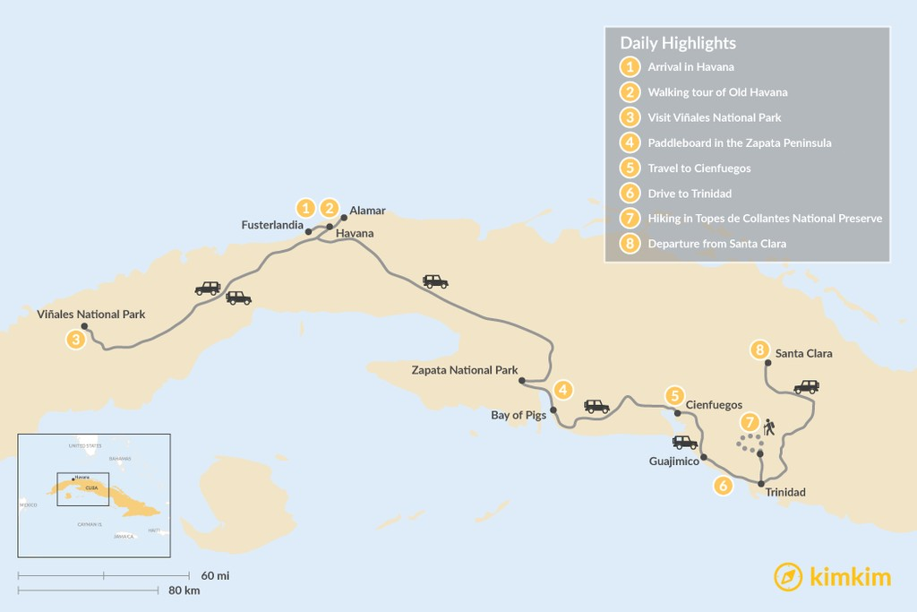 Map of Adventurous Cuba – 8 Days