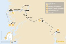 Map thumbnail of Bergen to Oslo Fjord Adventure - 6 Days